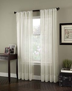 "Curtainworks Soho Voile Sheer Curtain Panel, 59"" by 95"", Oyster"