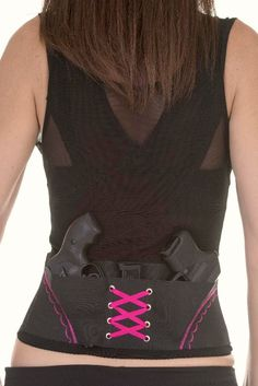 Pink On Black Concealed Carry Corset Holster by CanCanConcealment, $79.99 Luxury Fashion, Tank Tops, Shoe Bag, Fun, Accessories, Design, Fin Fun, Halter Tops, Muscle Shirts