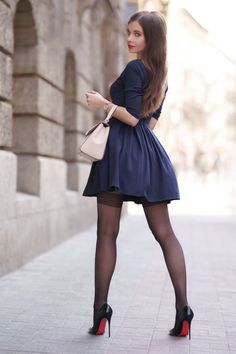 Pantyhose Outfits, Pantyhose Heels, Looks Pinterest, Nice Dresses, Short Dresses, Plain Dress, Sexy Legs And Heels, Transgender Girls, Mode Outfits