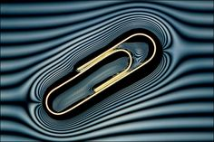 The surface tension of water supports a metal paperclip. By photographing it using a grille in front of the light source, the deformation of the water around the clip can be seen. (©Robert Anderson  )