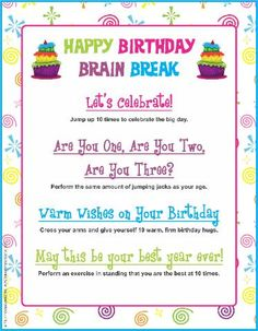 Happy Birthday Brain Break - help children celebrate their birthdays throughout the school year with movement