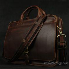 Handmade Vintage Leather Briefcase / Messenger Bag / Laptop Bag in Old Reddish Brown #n16