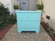 VINTAGE 2 Drawer Nightstand in Turquoise Los by HouseCandyLA