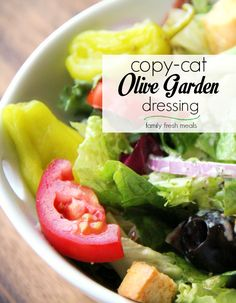 picture of olive garden salad, Olive garden salad recipe, Going out to eat is extraordinary. The best Copycat olive garden salad recipe, obviously! Olive Garden Dressing, Olive Garden Salad, Olive Garden Recipes, Olive Garden House Salad Recipe, Olive Garden Food, Olive Salad, Copycat Recipes, Soup Recipes, Salad Recipes