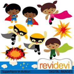 Cute superhero cliparts. Boys and girls.  These   digital images are  great for any craft and creative   projects (specially for kids projects).