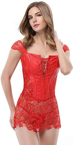 0e9005a253 Bluland Womens Faux Leather Steampunk Corset Goth Lace up Front Bustiers  Sexy Skirt 2XL Red Steampunk