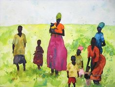 4 Black mothers and kids watercolor