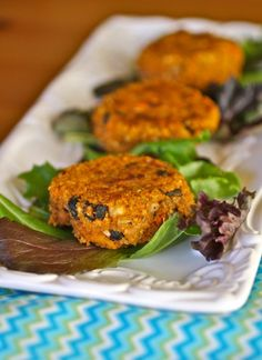 Baked sweet potato, black bean and quinoa cakes. I made these tonight and they were awesome, but instead of the rosemary I used curry powder, garlic powder, and tumeric. I'm not a fan of rosemary.