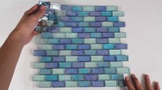 Iridescent Glass Mosaic Tile Pale Blue Blend 1x2 - 120KELU12BL14 http://www.mineraltiles.com/iridescent-glass-mosaic-tile-pale-blue-blend-1x2/
