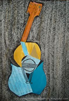 Use Your Coloured Pencils: Picasso Style Guitar Collages