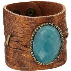 Leatherock B565 (Cognac) Bracelet ($52) ❤ liked on Polyvore featuring jewelry, bracelets, cuff bangle, leather bangles, hinged cuff bracelet, button jewelry and leather cuff bracelet