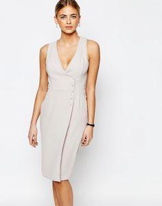 Fede Love Tailored Dress with Button Up - Light grey Love Pencil Kjoler til Damer i dejlige materialer