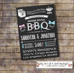 BBQ Gender Reveal invitation Baby Q gender reveal bun in the oven Couples shower Coed chalkboard digital printable invitation 13928 by myooakboutique on Etsy