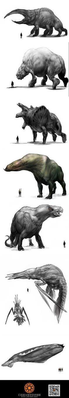 Criaturas gigantes dibujadas. Se muestra la proporción con respecto a un humano