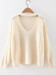 Beige Choker Neck Drop Shoulder Sweater -SheIn(Sheinside) Col Ras Du Cou f9fa00b72