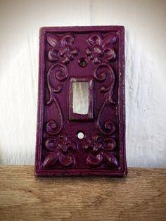 BOLD eggplant purple ornate decorative switch plate // cast iron// FLEUR de LIS