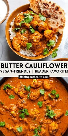 This Butter Cauliflower Recipe is a vegetarian riff on the classic Indian dish, Butter Chicken. Hearty and vegan-friendly, it's the ultimate veg dish. #cauliflowerrecipes #cauliflowerrecipesvegan #veganrecipes #vegetarianrecipes #dinnerideas