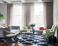 Navy. Green. Chairs. Table. Sofa. Rug. Eclectic. Living Room.