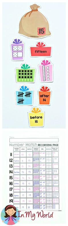 FREE Christmas Math Centers for Kindergarten. Number sense.