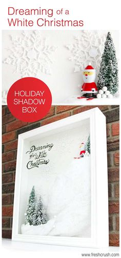 I need to make this! Tutorial on the cutest holiday wall art, ever! DIY Holiday Shadow Box, with snow, santa, and brush bottle trees!