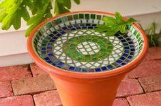 Low Mosaic Bird Bath from clay pot and saucer