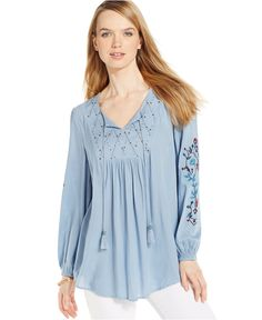 Style & Co. Embellished Peasant Top, Only at Macy's - Tops - Women - Macy's