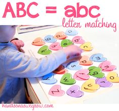 Match upper and lowercase letters using a fun Valentine's Day printable of hearts!