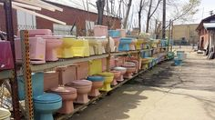 In Denver Colorado @ Do-It-Ur-Self Plumbing - a vast land of colored toilets! Vintage Images, Retro Vintage, Colored Toilets, British Bathroom, Makeover Before And After, Pastel House, Vintage Bathrooms, Retro Home, Vintage Advertisements