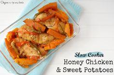 Slow Cooker Honey Chicken and Sweet Potatoes. Ingredients: chicken breasts, sweet potato, green & red pepper, onion, garlic, honey, applesauce, s & p