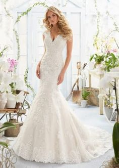 Crystal Beaded Embroidered Appliques and Scalloped Hemline on Net Morilee Bridal with Sheer Train