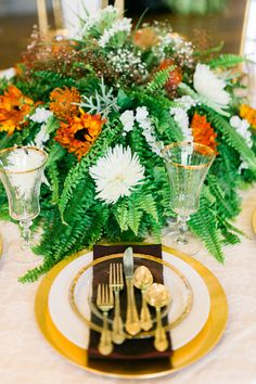 garden wedding table setting - photo by Meigan Canfield Photography http://ruffledblog.com/italian-wedding-inspiration-with-pops-of-red