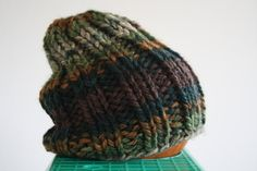 Camouflage Hand Knit Chunky Baby Beanie in by LilRedKnittingHood, $15.00
