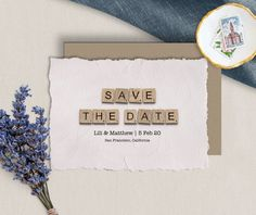 Save The Date Cards Downloadable Card Wedding Announcement | Etsy Happy Birthday Printable, 30th Birthday Cards, Mom Birthday, Announcement Cards, Wedding Announcements, Printable Cards, Printables, Scrabble Wedding, Scrabble Tile Art