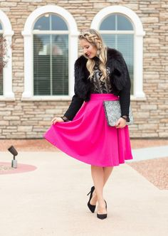 young and fab holiday outfit ----  Rose embossed midi skirt in hot pink c/o Chicwish // Lace top  // Vintage fur collar jacket c/o with black jacket and fur collar // Black pumps // Loren Hope Bracelet // Lips: Make Up For Ever