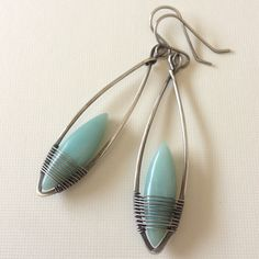 # Silver and silver filled dangle earrings with amazonite marquise cut beads