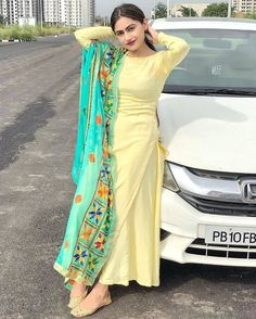 Photo by suits patiala shahi ™ on July Image may contain: one or more people, people standing, car and outdoor Salwar Suit Neck Designs, Neck Designs For Suits, Kurta Designs Women, Designs For Dresses, Salwar Designs, Indian Fashion Dresses, Dress Indian Style, Indian Outfits, Punjabi Fashion