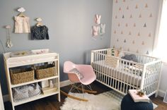 Love the colours in this nursery, the triangles on the wall and the cloud cushion ~ Chloe Fleury