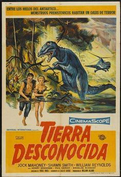 The Land Unknown (Aka Tierra Desconocida) Foreground From Left: Jock Mahoney Shirley Patterson (Billed As Shawn Smith) 1957 Movie Poster Masterprint x Horror Movie Posters, Cinema Posters, Film Posters, Horror Movies, Classic Sci Fi Movies, Turner Classic Movies, Foreign Movies, Vintage Posters, Vintage Tv
