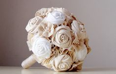 Fabric Wedding Bouquet Handmade Fabric Bridesmaid by bouquets4love, $180.00