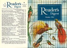 """Reader's Digest front and back cover, October 1961 Illustration:""""Birds of the Tropics"""" byRay Craig"""