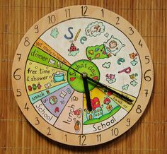 YOUR KID's 24 h Daily Clock, Daily Routine, child clock Describe your kids one day and well make your own wall clock! The wall clock can be totally personalized for your inquires. Toddler Activities, Learning Activities, Kids Learning, Learning Spanish, Toddler Clock, Best Kids Watches, Clock For Kids, Kids Clocks, Routine Chart