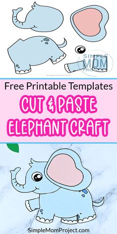 Do you want to design a fun Elephant craft with your kids? Here's a simple cut & paste elephant craft which is ideal for toddlers craft time. With free printable templates, this cut & paste elephant craft is easy for preschool toddlers to make as an art project or even a craft activity for homeschoolers. Have some fun with your kids as they bring these printable jungle animals alive today - they're clever, cute and very colorful! Safari Animal Crafts, Jungle Crafts, Giraffe Crafts, Animal Crafts For Kids, Easy Preschool Crafts, Easy Crafts For Kids, Craft Activities For Kids, Toddler Crafts, Printable Templates