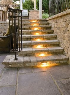 Lighted steps - perfect for outdoor or indoor stairs!