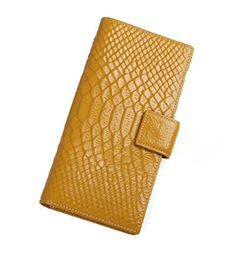 Genda 2Archer Women's Genuine Leather Large Capacity RFID Blocking Wallet Bifold Card Holder (Yellow) >>> Read more  at the image link.