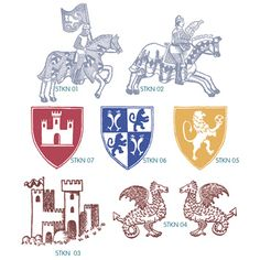 gryphons castle heraldry knight stamps