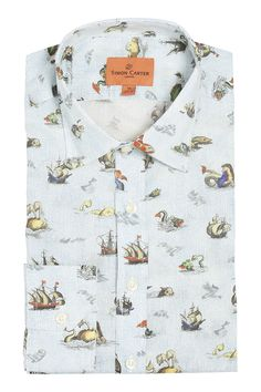 Simon Carter Made With Liberty Fabric Sea Myths Product Code: SCSH00448 £145.00 Simon Carter, Liberty Fabric, Grey Shirt, Your Style, 16th Century, Sea Creatures, Unicorns, Maps, Portugal