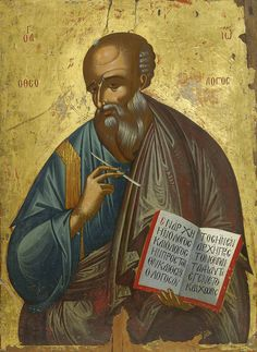 Detailed view: RR011. St John the Theologian- exhibited at the Temple Gallery, specialists in Russian icons