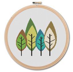 A variety of trees - unrealistic but cute. Repeating pattern? Cute Forest Counted Cross stitch Pattern PDF by WonderNeedle, $3.50