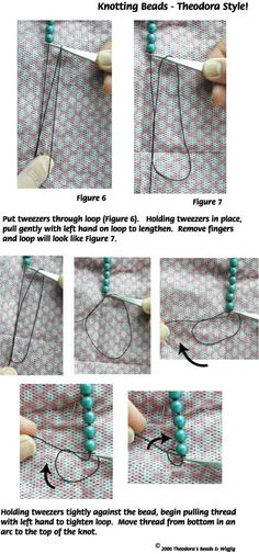 Bead Stringing Knotting jewelry making techniques made with WigJig tools and jewelry supplies.