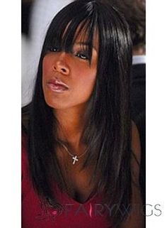 Shining Long Straight Black African American Wigs for Women